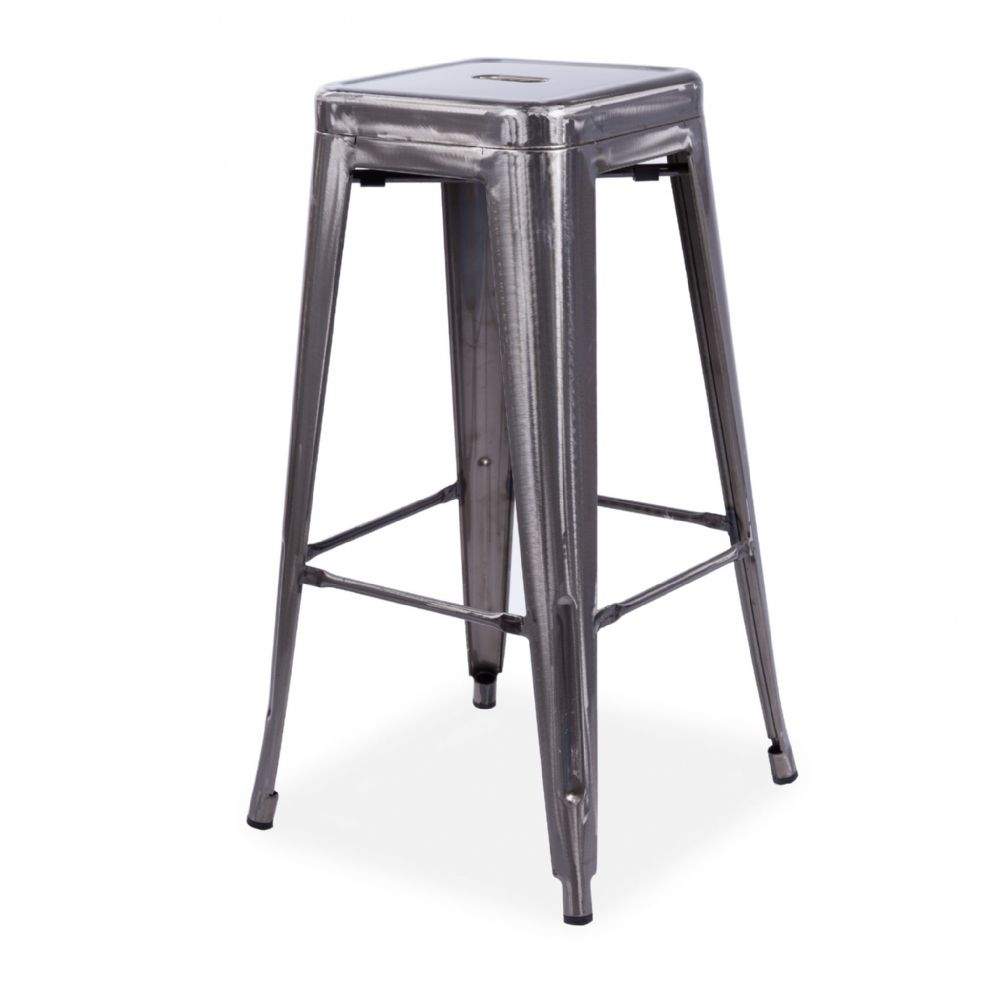 x4 Tolix Metal Barstool Stackable Dining Barstool, Silver